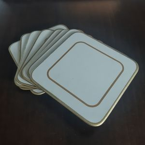 Set of 8 Vintage White and Gold Coasters